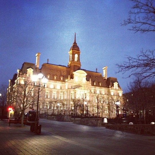 Montreal City Hall as night time set in