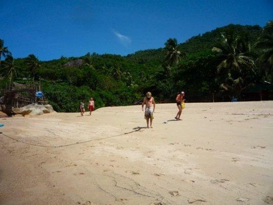 A nearby deserted beach