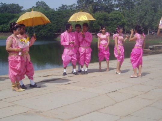 A Cambodian wedding - I love the pink outfits!