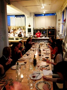 Delicious food, great company and plenty of vino at Massimo's studio